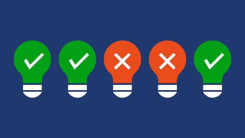 Five light bulbs showing good and bad ideas