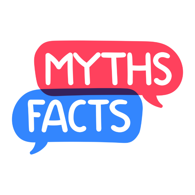 "The word ""myths"" in a red cloud and the word ""facts"" in a blue cloud."