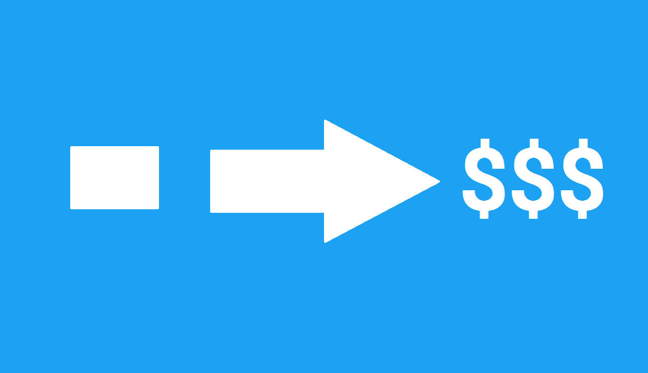 Arrow showing conversions to dollars