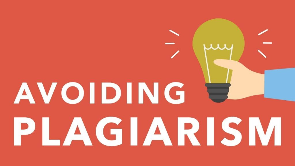 """Hand holding a light bulb and the words """"Avoid Plagiarism"""""""